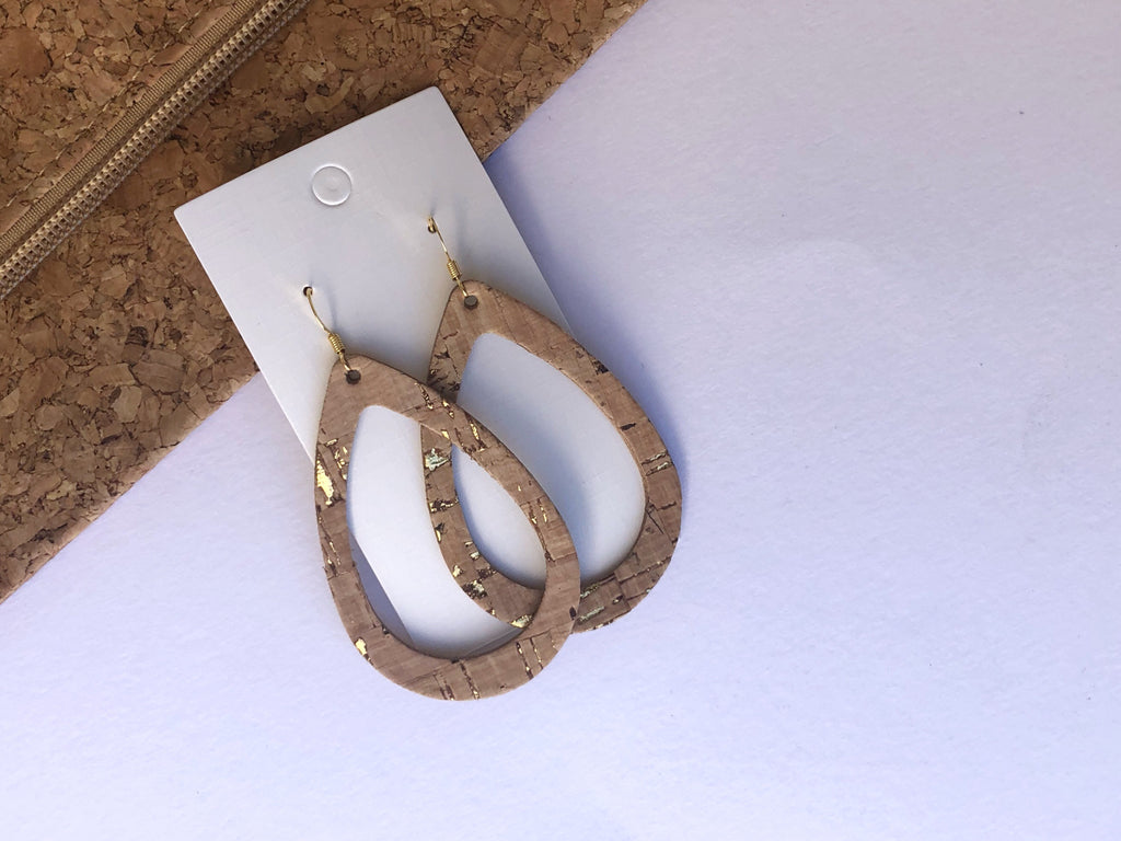Gold Corkleather Bonded Silhouette Earrings