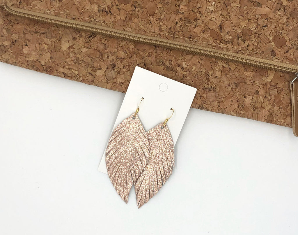 Rose Gold Leaf Fringe Earrings