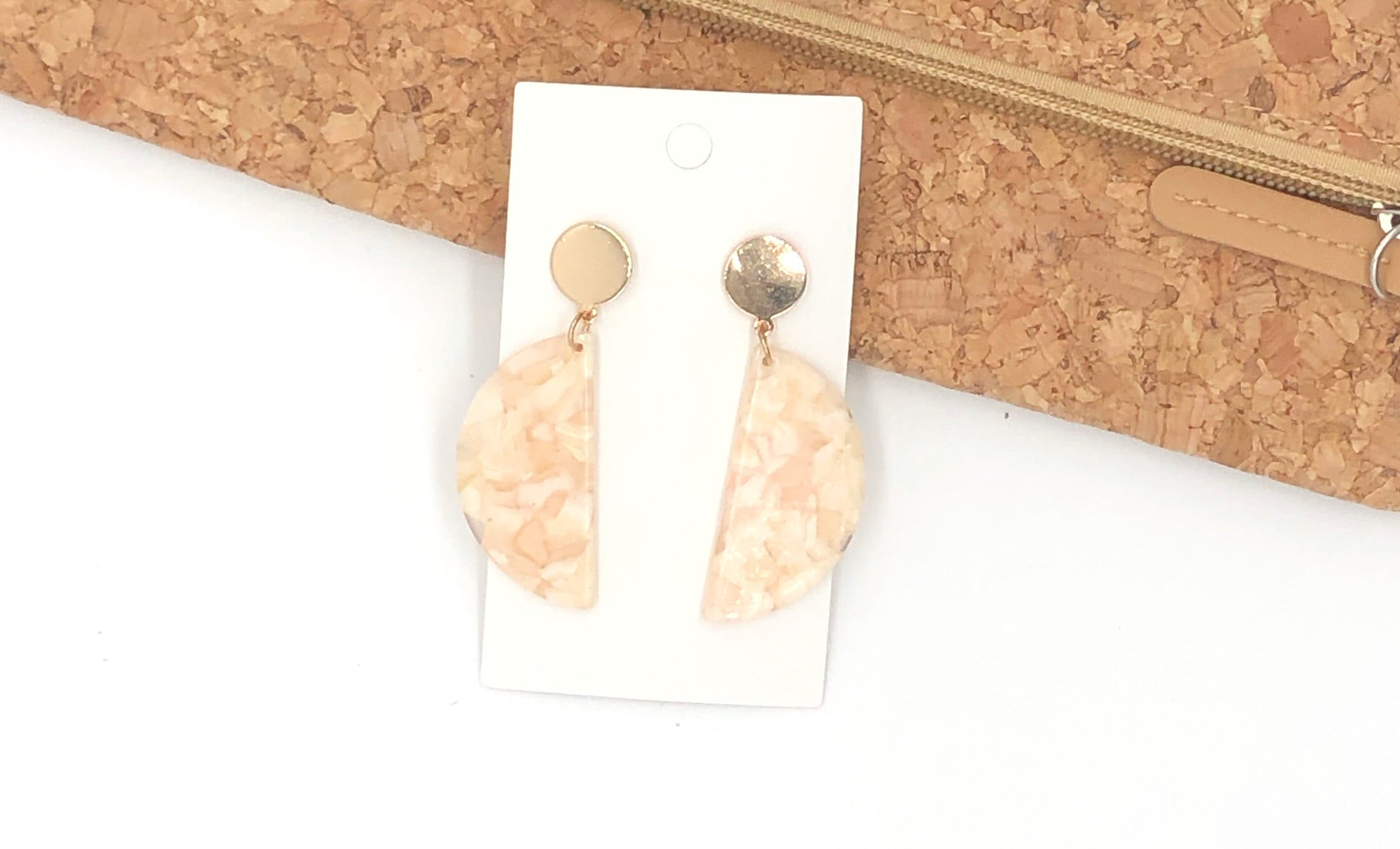 Semicircle Beige Acrylic Earrings