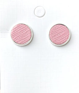Carnation Pink Leather Stud Earrings