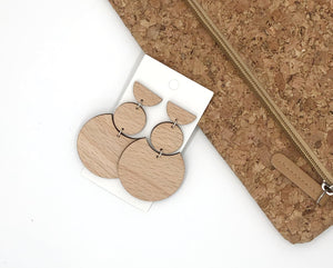 Crescent Linked Wood Earrings