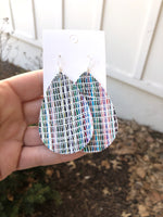 White Rainbow Distressed Leather Teardrop Earrings
