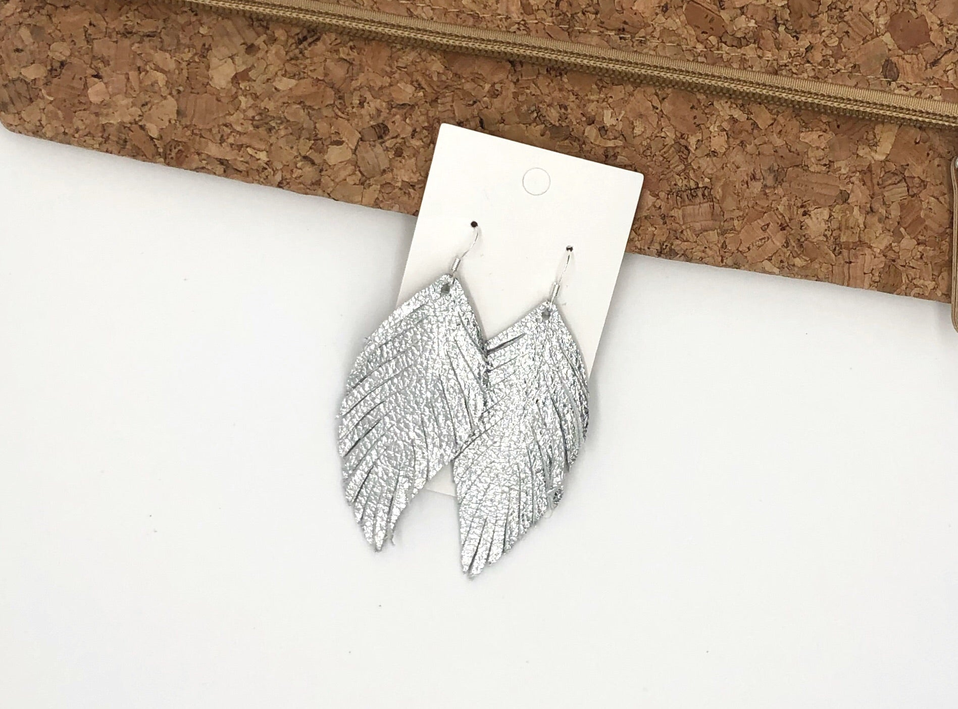 Silver Leaf Fringe Earrings