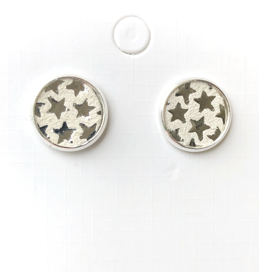 Silver Star Leather Stud Earrings