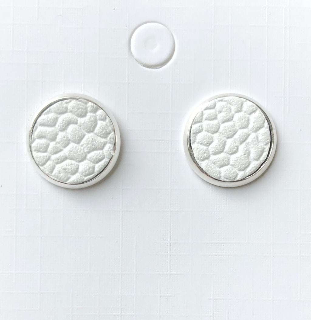 White Leather Stud Earrings