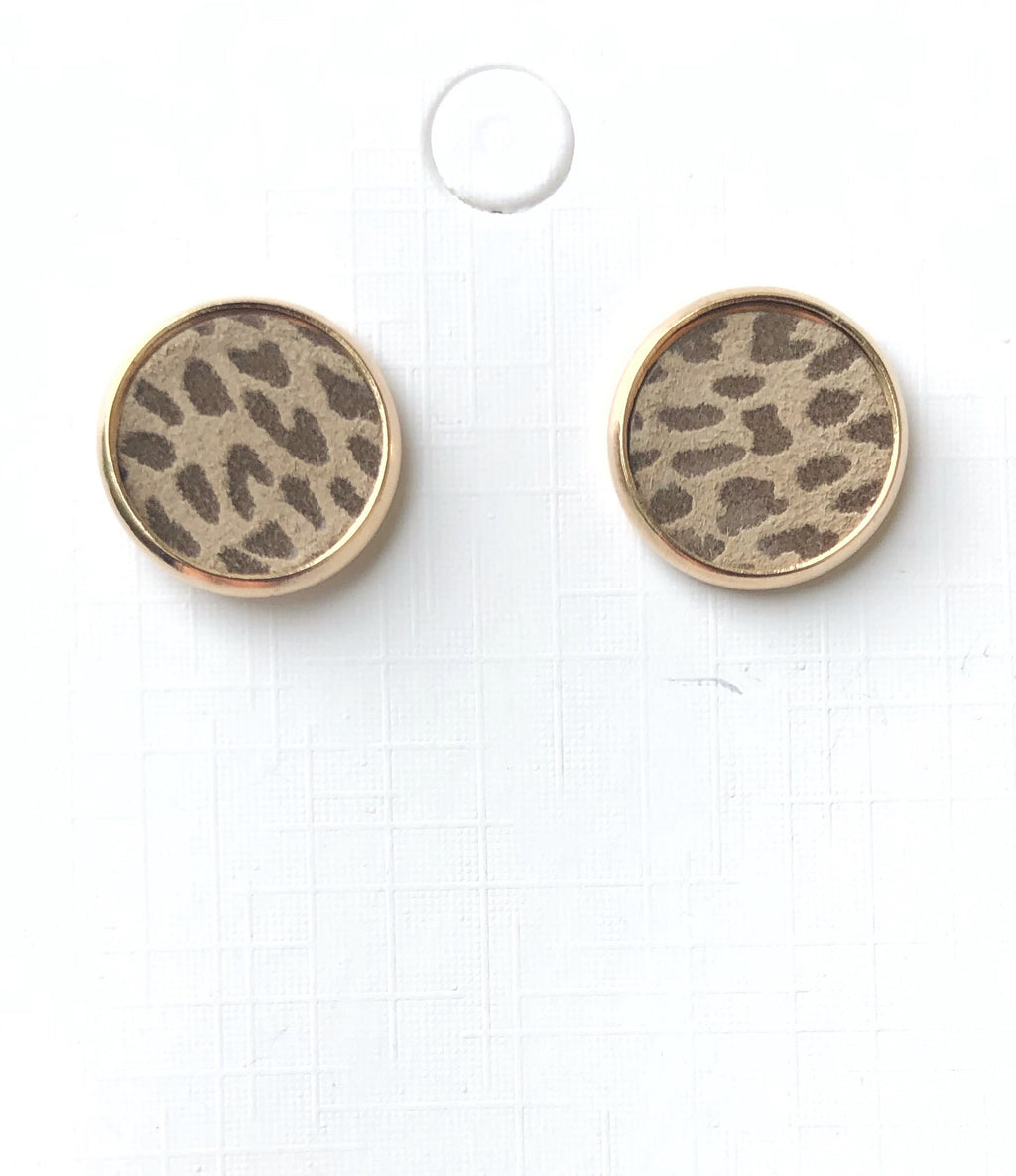 Spotted Brown Leather Stud Earrings