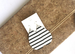 Black White Stripe Teardrop