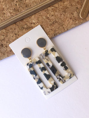 Gray Acrylic Rectangle Earrings