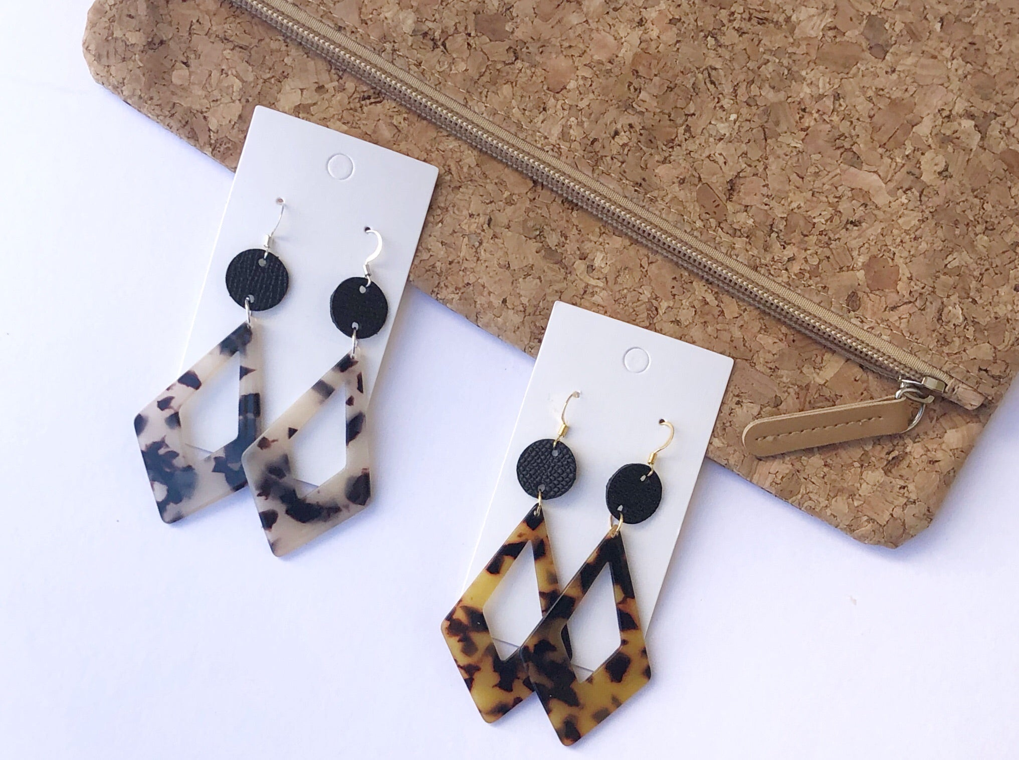 Blonde Tortoise Diamond Drop Leather and Acrylic Earrings