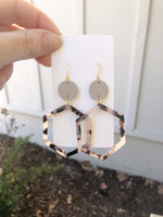 Blonde Hexagon Acrylic and Leather Earrings