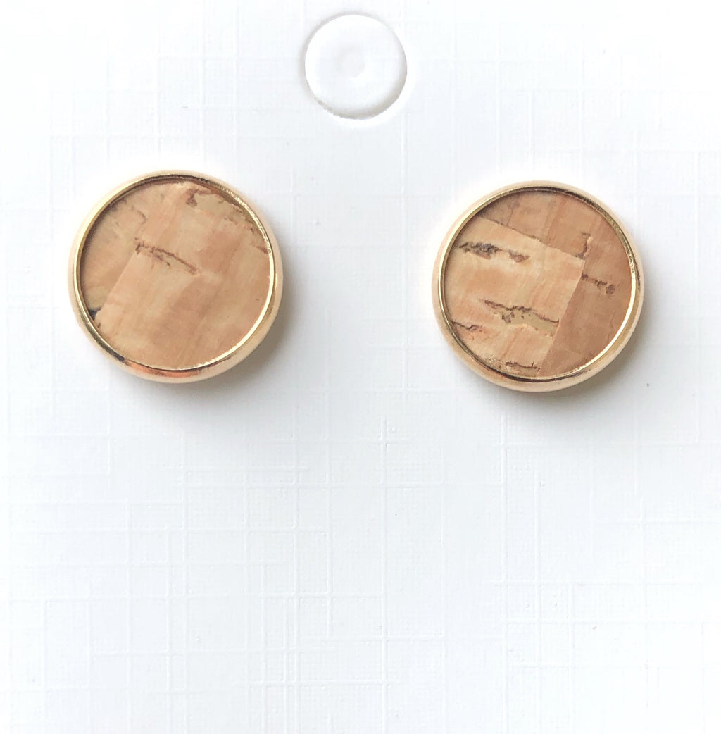 Natural Corkleather Stud Earrings
