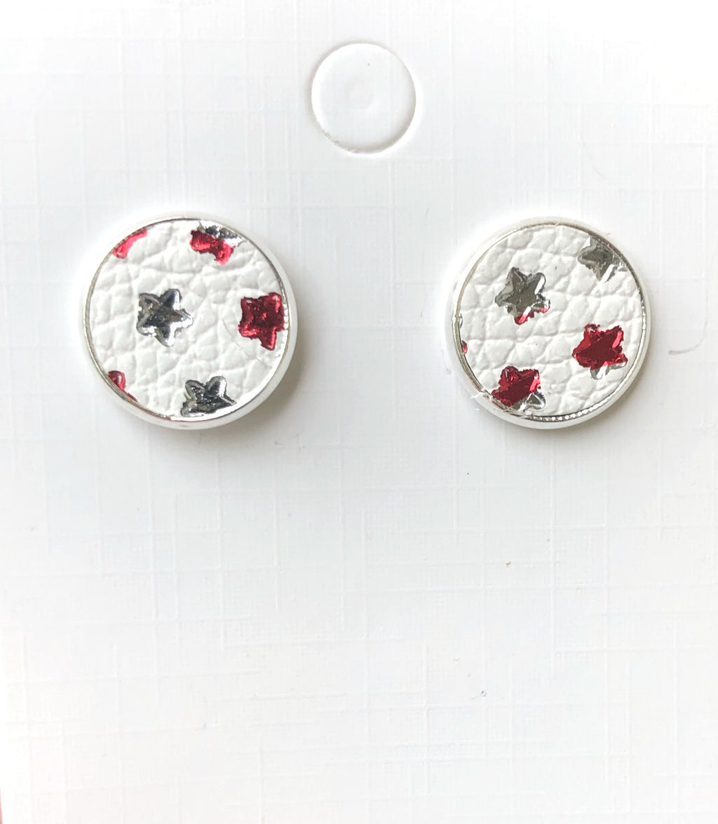 Red and White Star Leather Stud Earrings