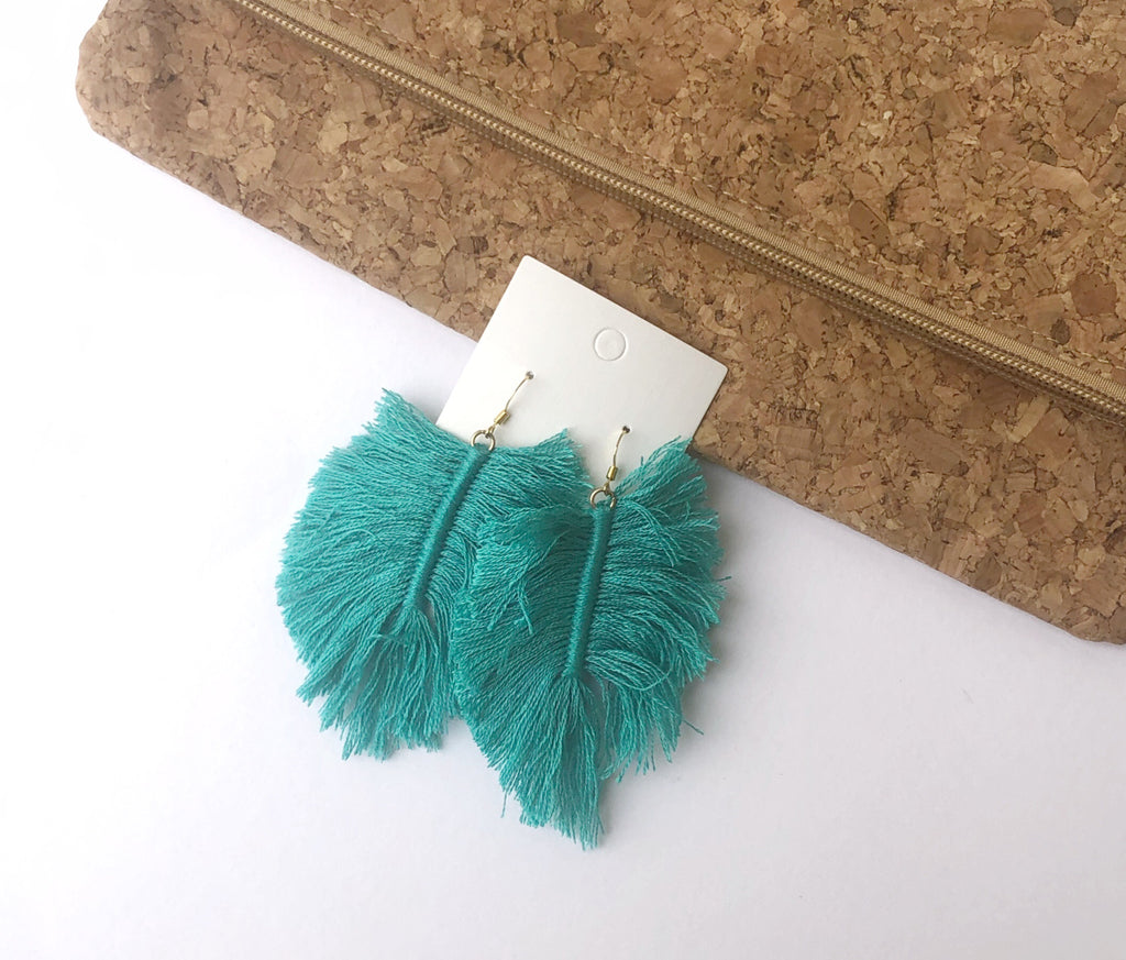 Turquoise Palm Fringe Thread Earrings