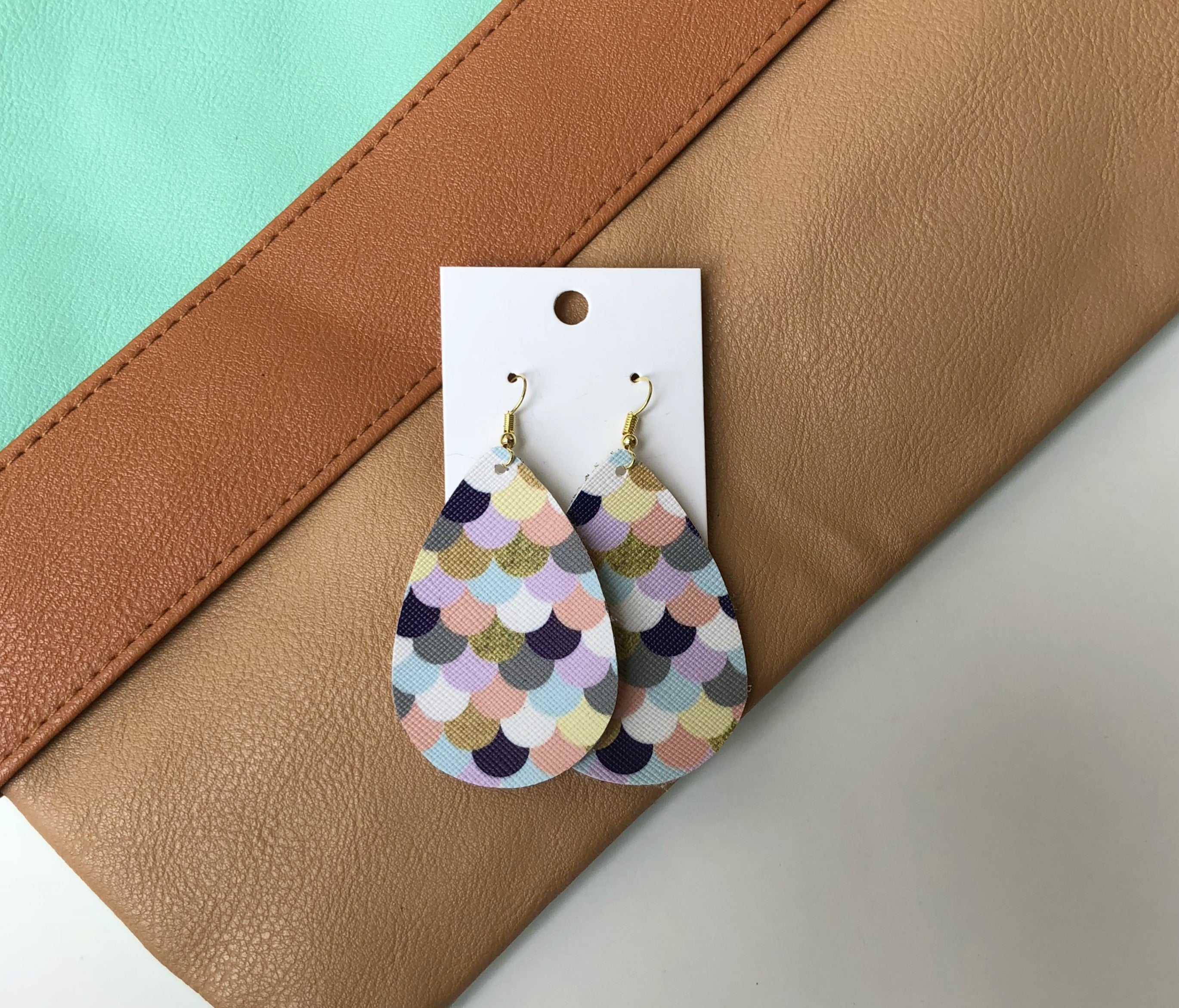 Mermaid Faux Leather Teardrop