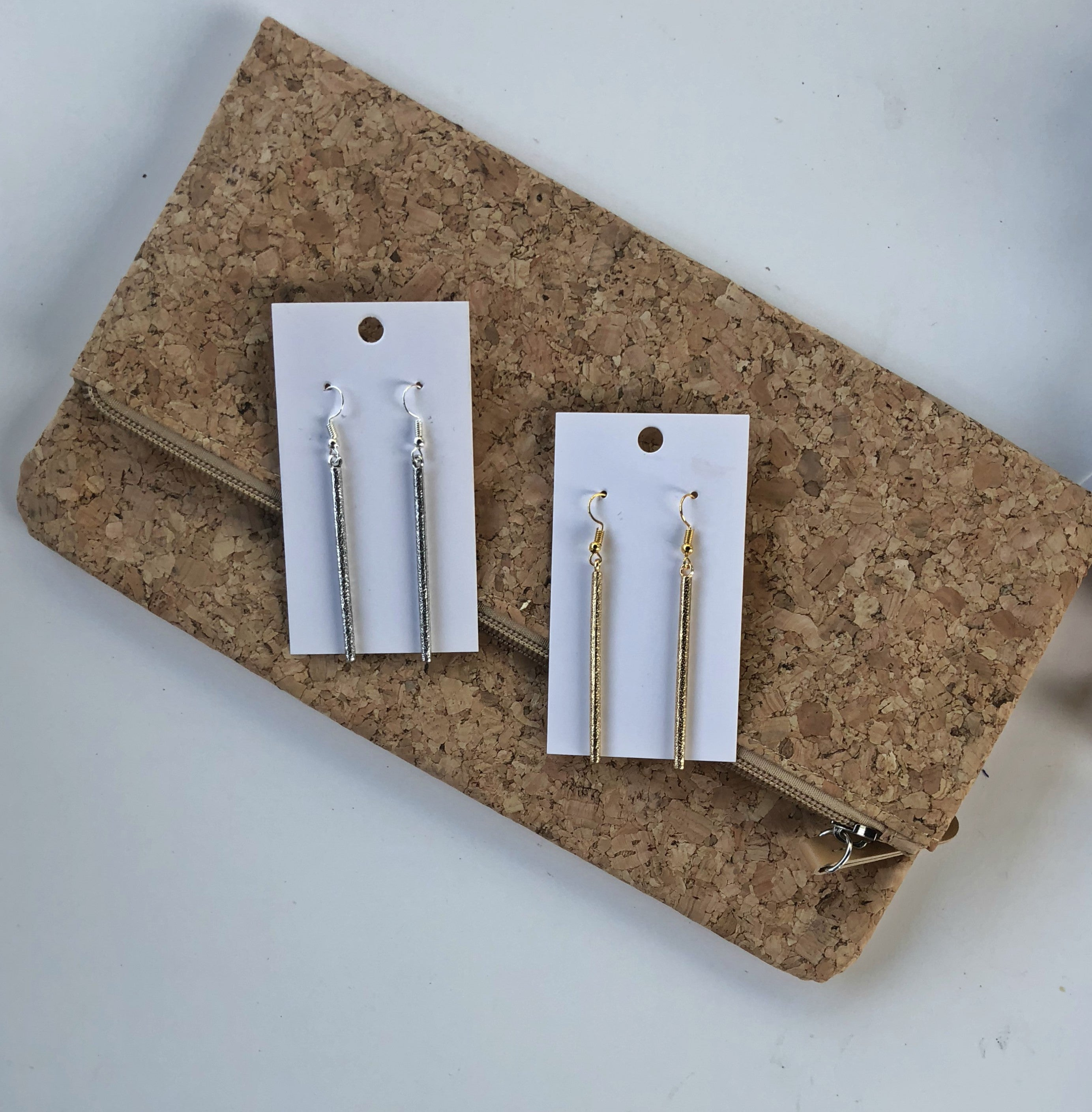 Gold or Silver Metal Stick Earrings