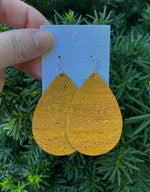 Mustard Yellow Cork Bonded to Leather Teardrop Earrings