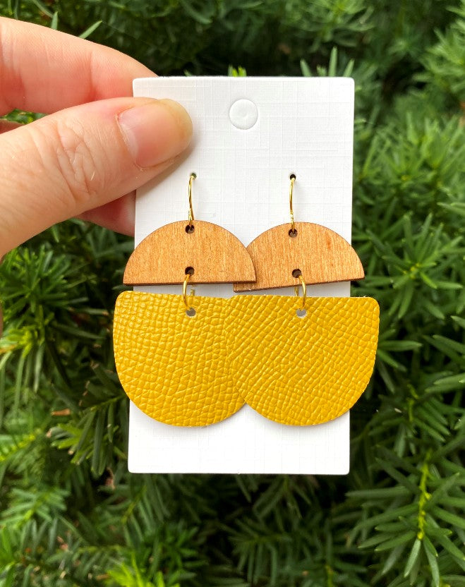 Mustard Yellow Leather and Wood Deco Drops