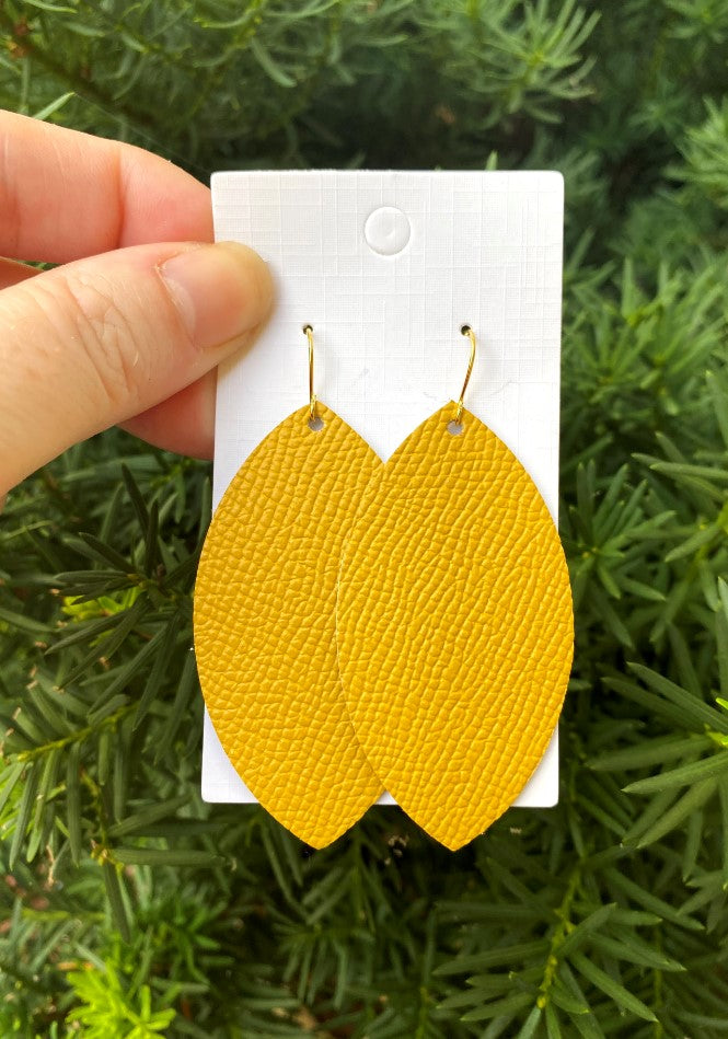Mustard Yellow Leather Marquis Earrings