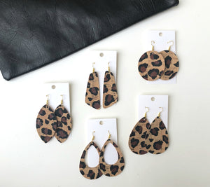 Cheetah Cork Leather Teardrop
