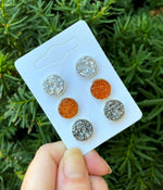 October Sparkle Stud Trio Earrings