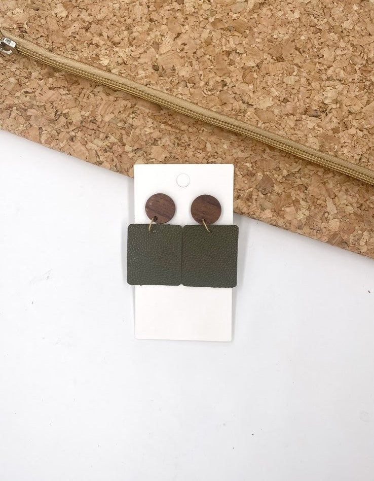 Olive Pebbled Block Drop Earrings- Hook or Wood Post