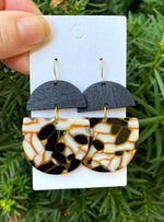 Orange and Black Acrylic and Wood Deco Drops