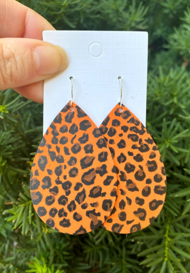 Orange Leopard Teardrop