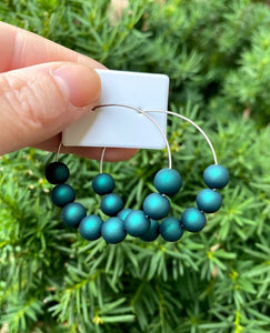 Peacock Teal Hoop Earrings