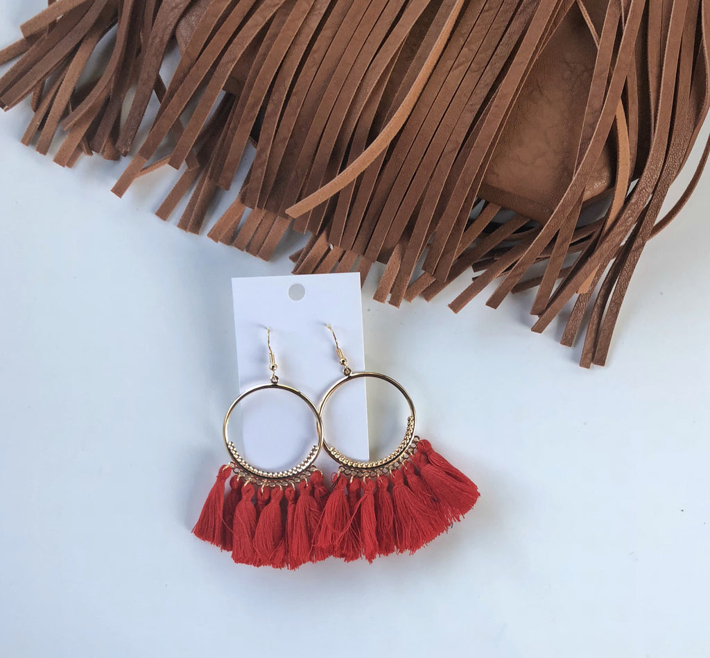 Red Circle Tassel Earrings