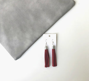 Red Long Suede Tassel Earrings