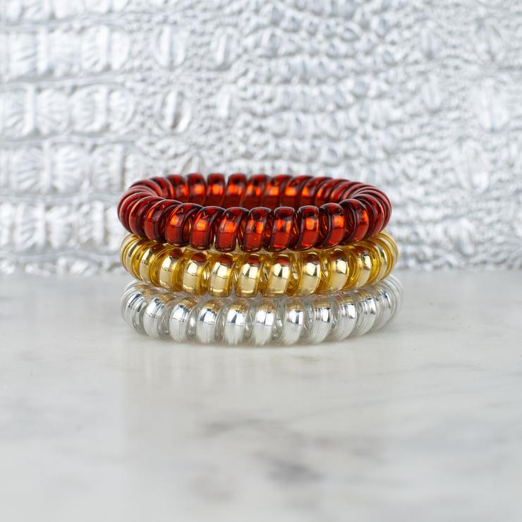 Red and Gold Hair Tie Set