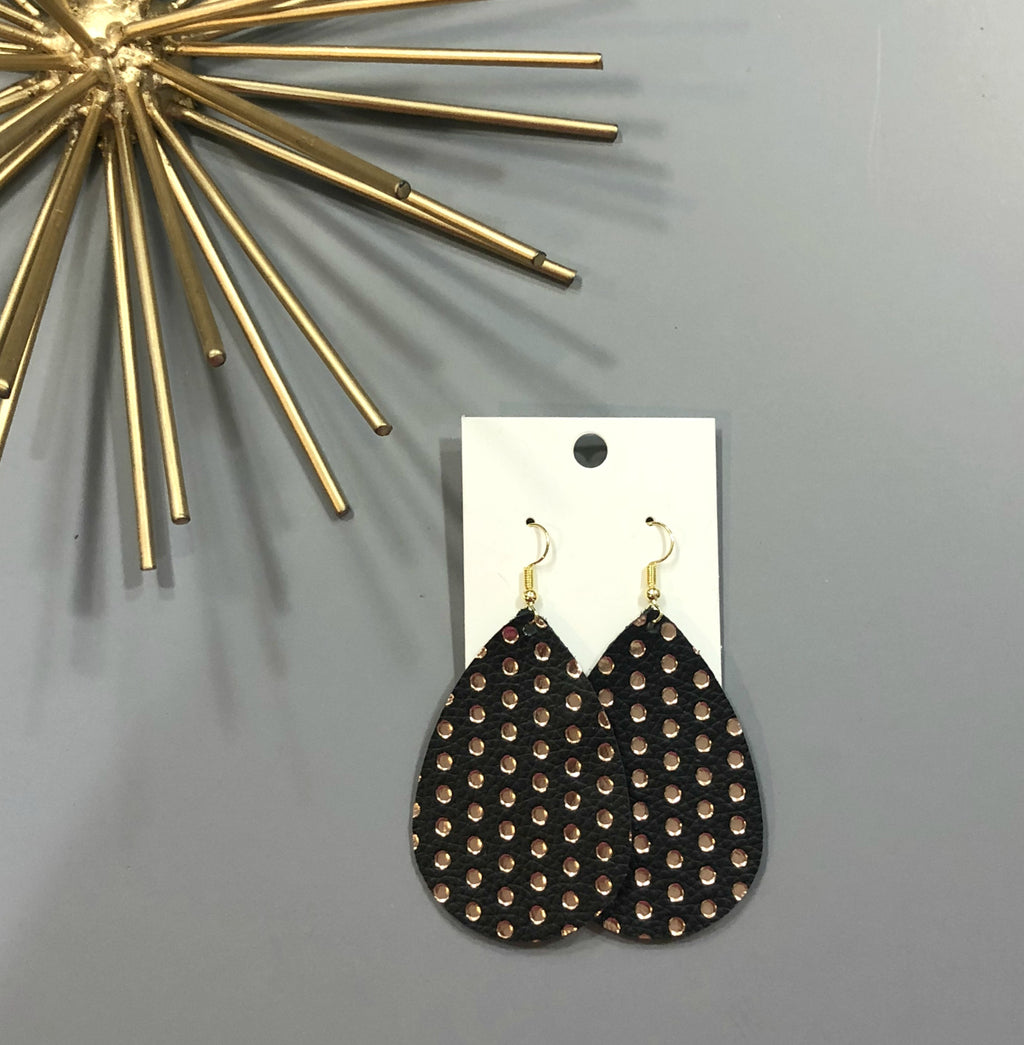 Rose Gold Black Polka Dot Leather Teardrop Drop Earrings