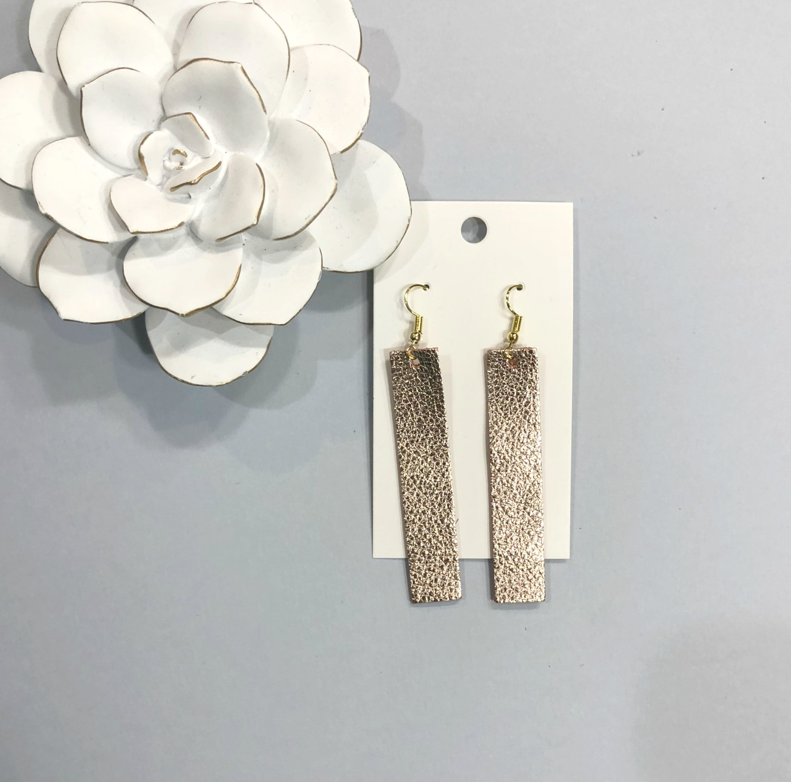 Rose Gold Rectangle Leather Earrings