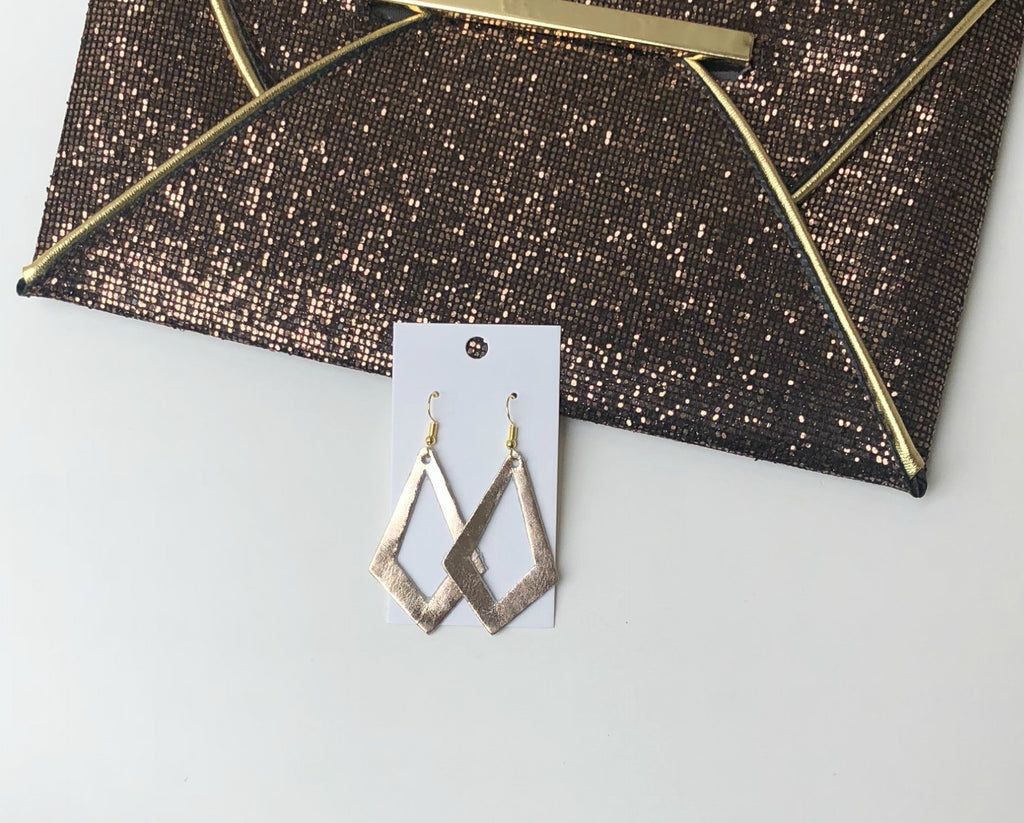 Rose Gold Spade Cutout Earrings