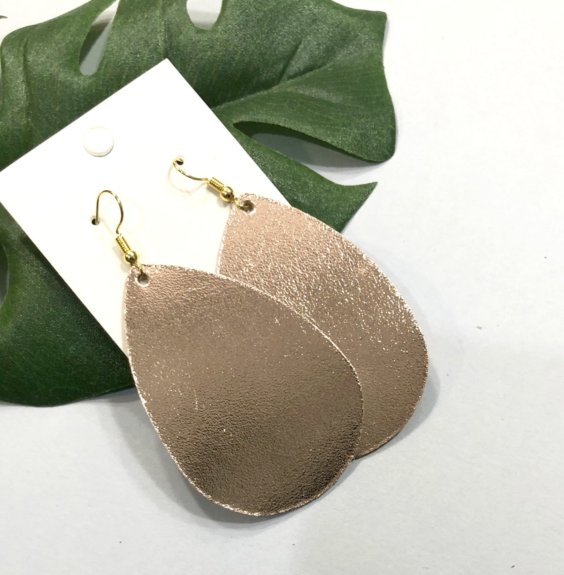 Rose Gold Shiny Leather Teardrop Earrings