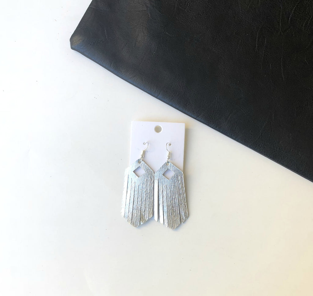 Silver Diamond Fringe Leather Earrings