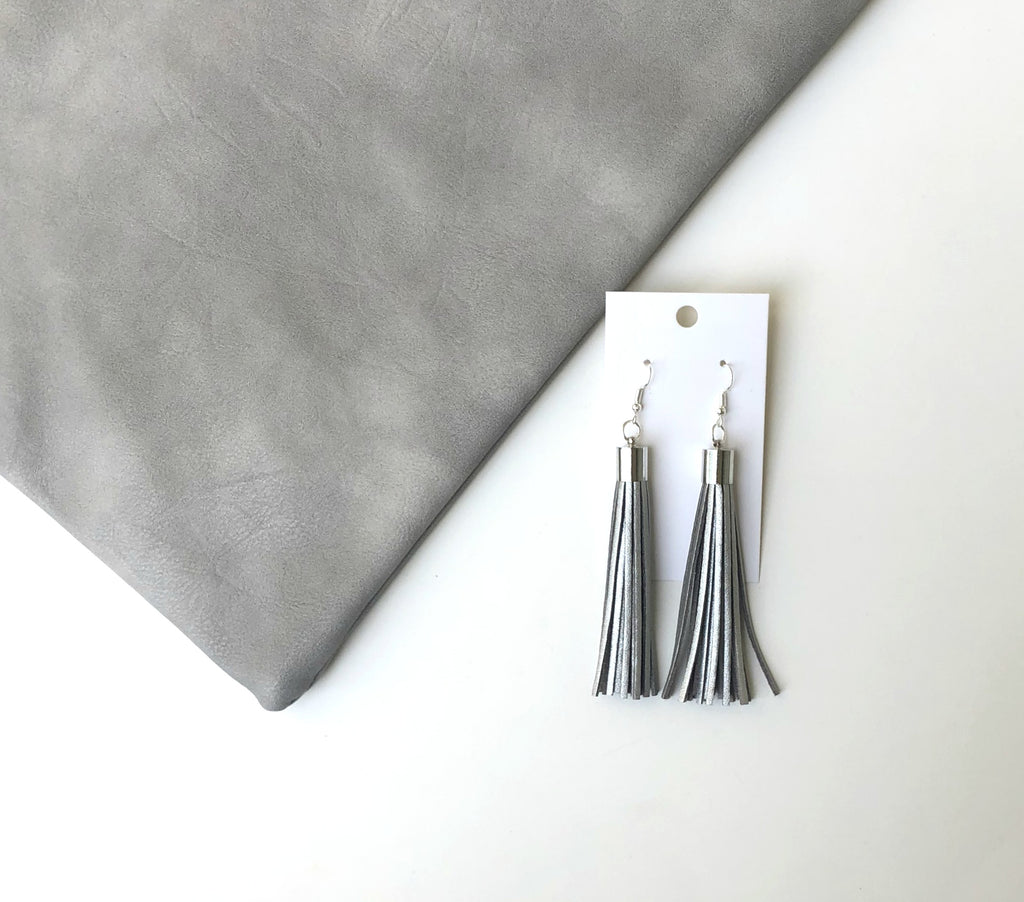 Silver Long Suede Tassel Earrings