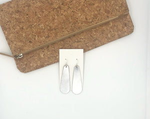 Silver Shiny Leather Long Drop Earrings