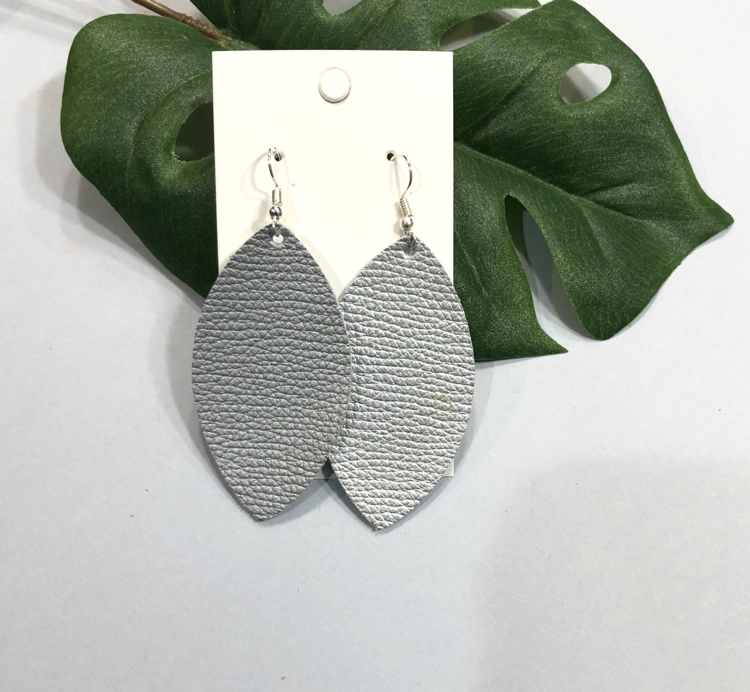Silver Marquis Leather Earrings