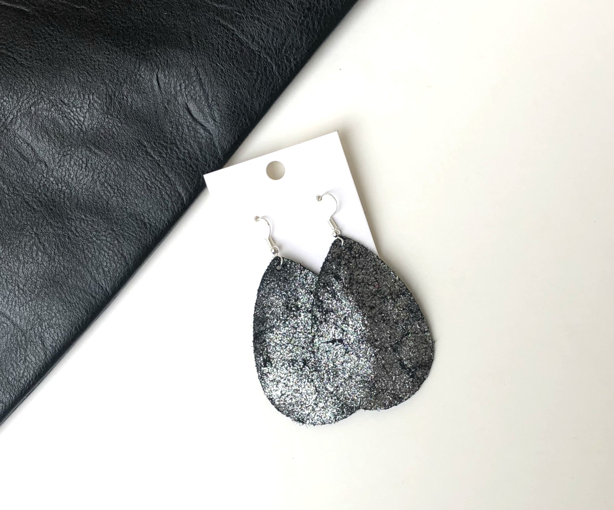 Silver Shimmer Leather Teardrop