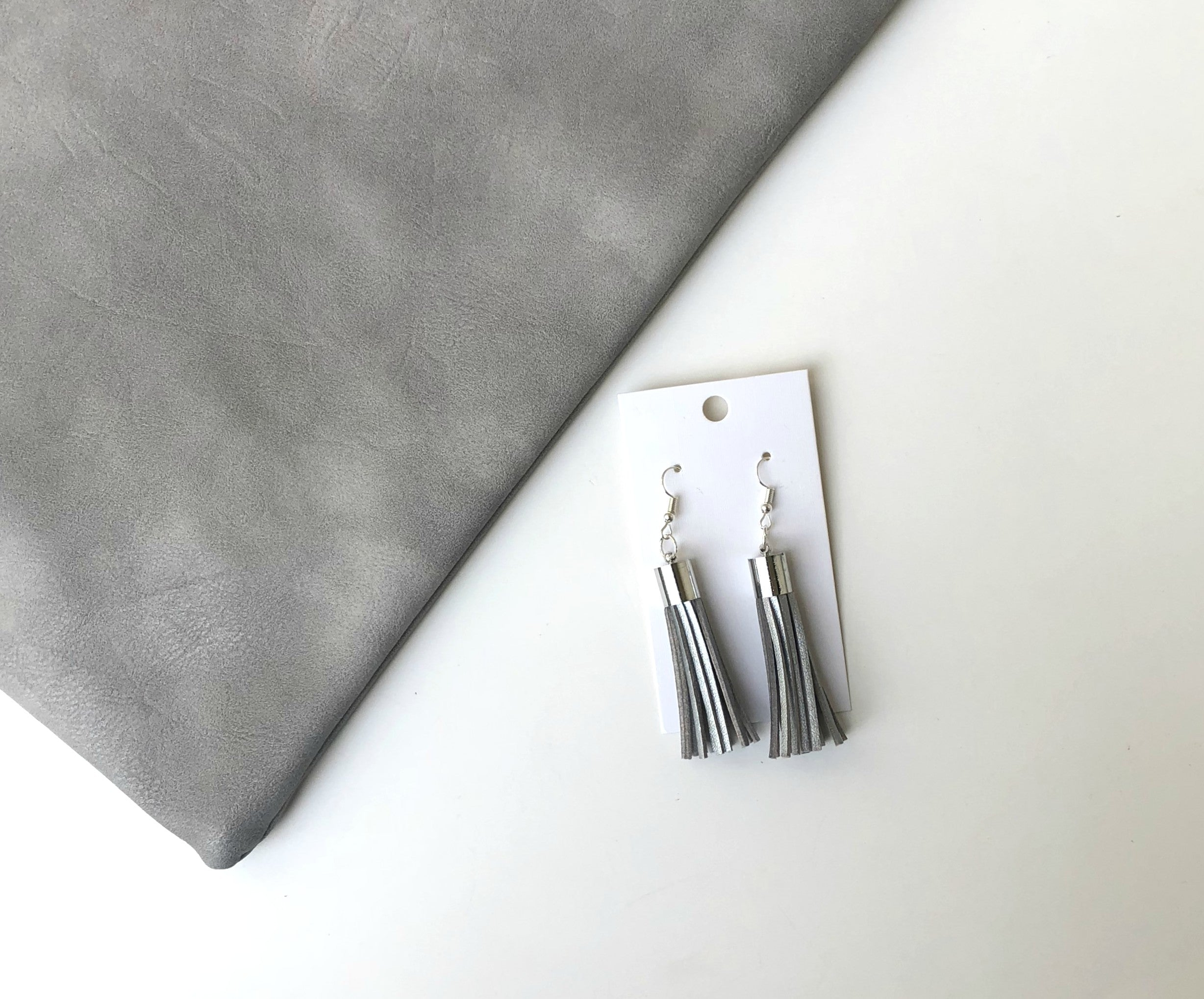 Silver Suede Tassel Earrings
