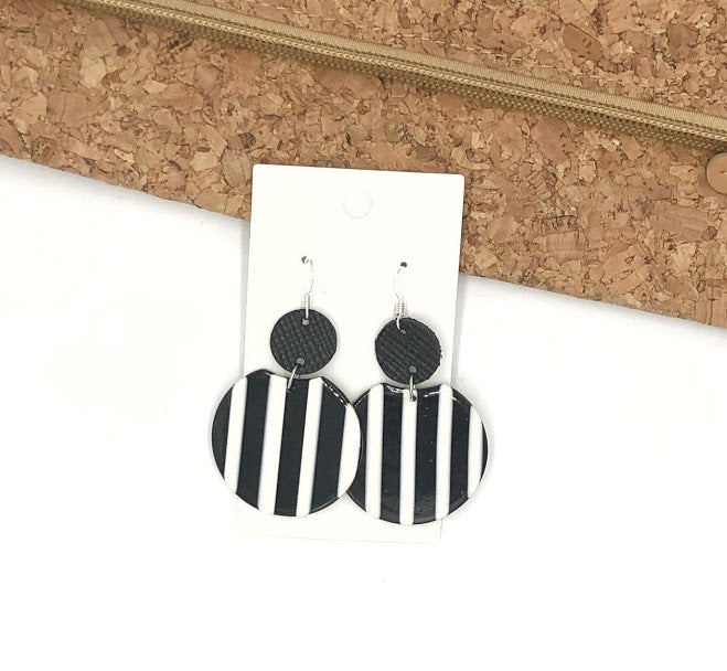 Black and White Striped Crescent Leather and Acrylic Earrings