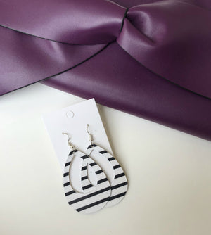 Black White Striped Cutout Teardrop