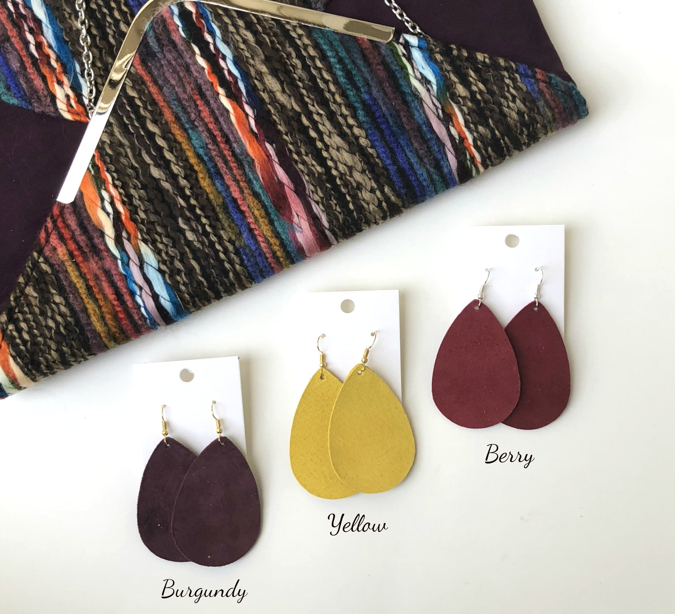 Burgundy Suede Leather Teardrop Earrings