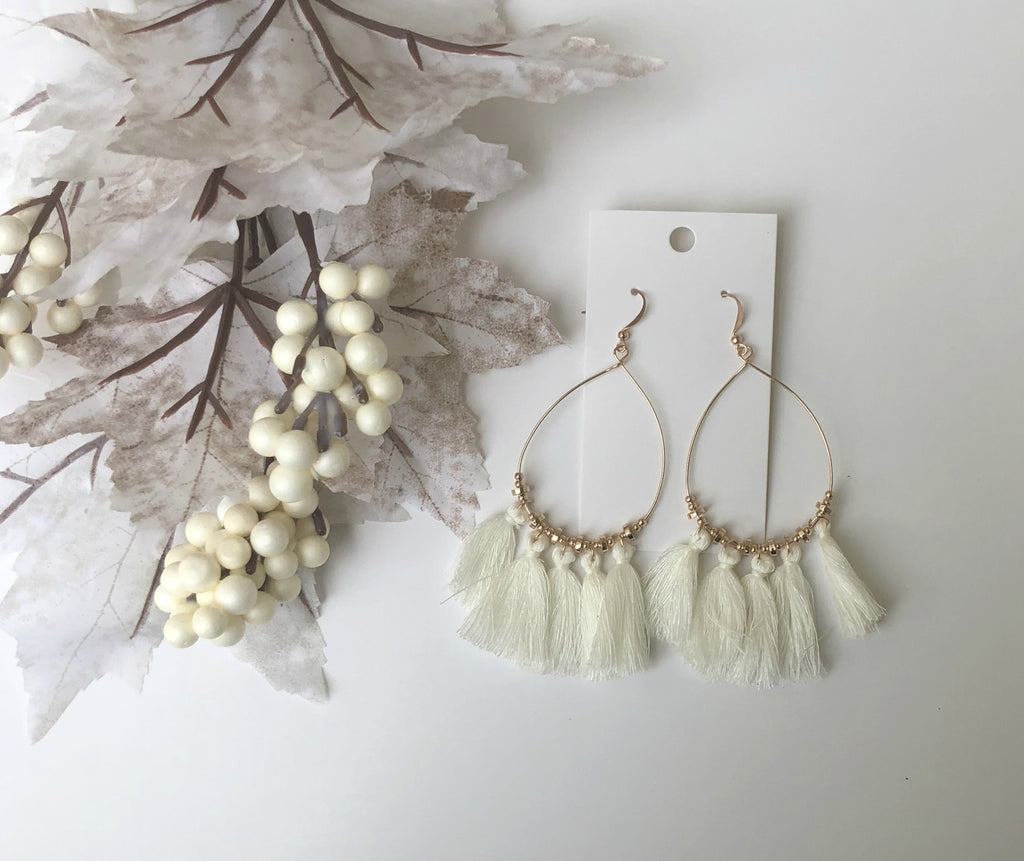 White Teardrop Tassel Earrings