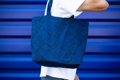 Kaws x Uniqlo  All Over Holiday Print Tote Bag Navy