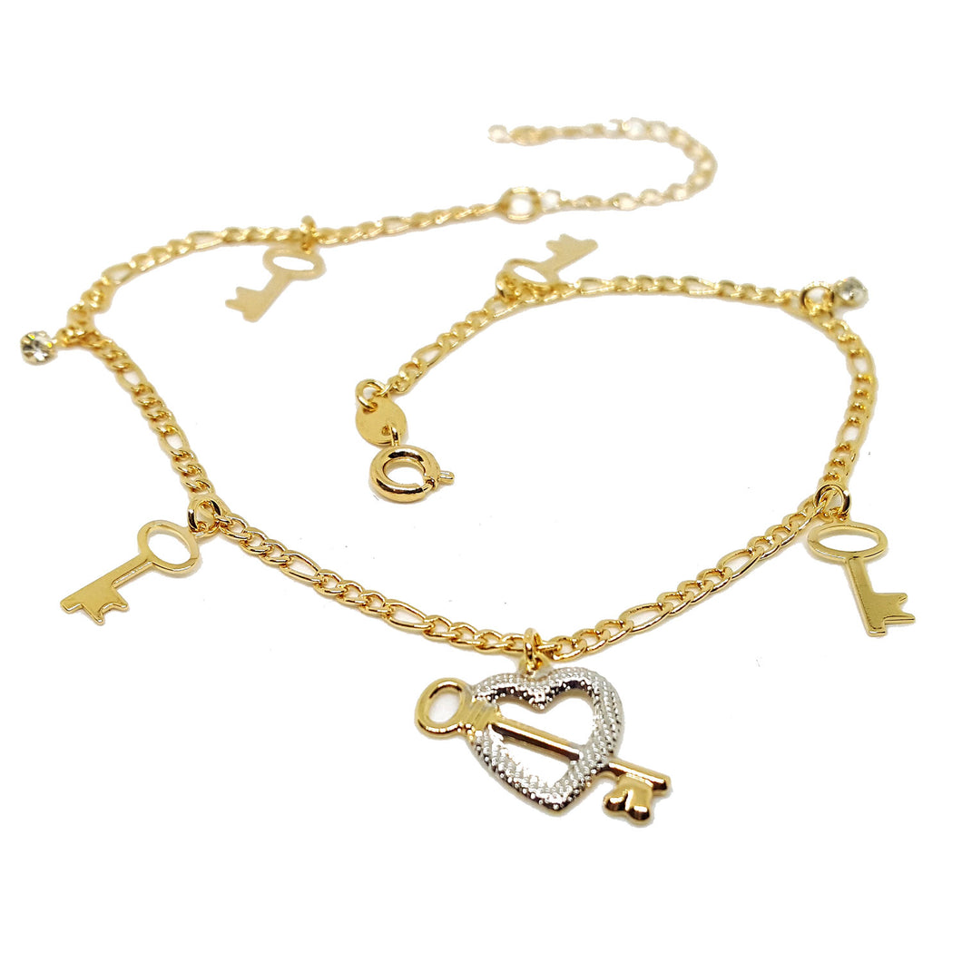 (1-0110-h5) Gold Filled Two Tone Heart and Keys Anklet, 10