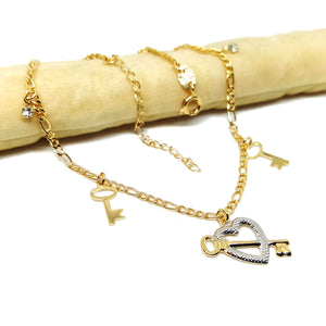 "(1-0110-h5) Gold Filled Two Tone Heart and Keys Anklet, 10""."