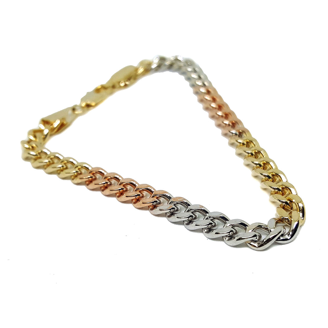 (1-0522-h5) Gold Plated Three Tone Cuban link Bracelet, 8