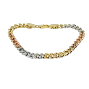 "(1-0522-h5) Gold Plated Three Tone Cuban link Bracelet, 8""."